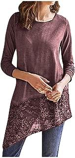 LONGDAY Tunic Tops Lace Hem Shirts Loose Fit O Neck Women Casual Soft Long Sleeve Lace Stretchy Swing T-Shirt Dress