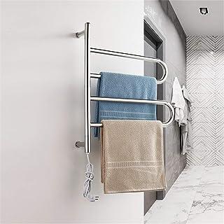GJIAWI Contemporánea Curvo baño toallero radiador Temperatura Controlada baño Toalla Rack 24,1 X 22,1 Pulgadas - Cromo