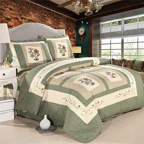 Bawełniana haftowana narzuta kwiatowa 3-częściowy zestaw miękkiej kołdry typu king size patchwork narzuta na łóżko narzuta z 2 poszewkami na poduszki 230 x 250 cm (zielony)
