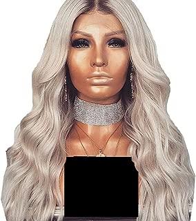 KEYI 女性用かつらのための前髪が付いているグラデーションシルバーグレーの長い波状の巻き毛のかつら (色 : Silver grey)