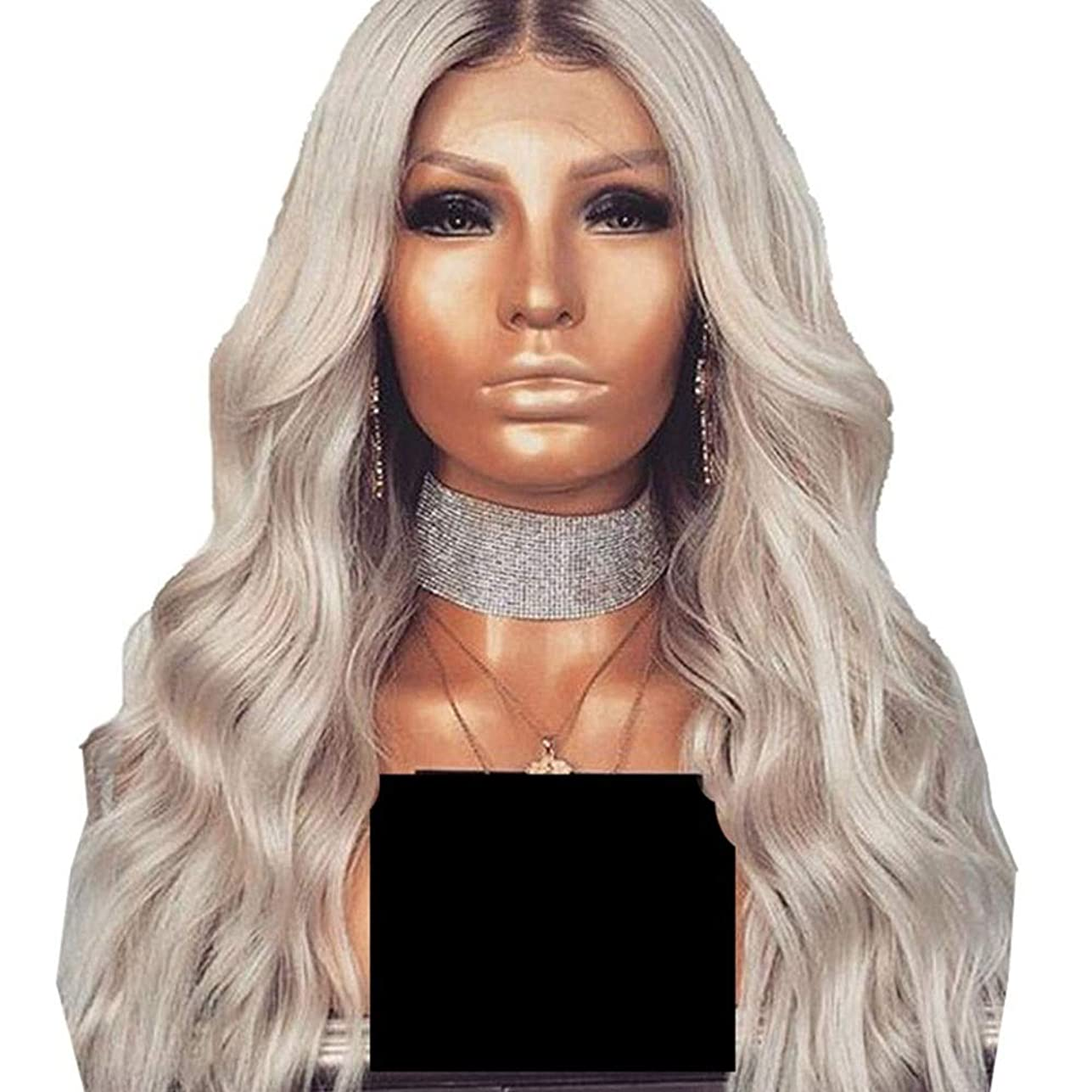 大宇宙参照する挨拶するYrattary グラデーションシルバーグレーの長い波状の巻き毛のかつら女性のための前髪付き人工毛レースのかつらロールプレイングかつら (色 : Silver grey)