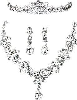 Wedding Pearl Crown Tiara Flower Rhinestone Crystal Neckalce and Earrings Jewelry Sets for Bridal (4#)