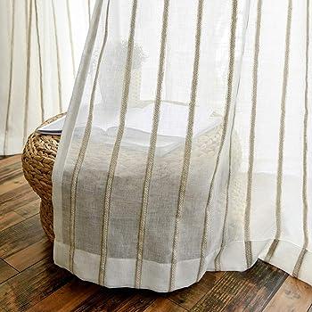 FF&XX Blanco Raya Pura Cortinas,algodón Lino Visillos,apagón Cortina De Ventana Paneles,Dormitorio Tratamiento De Ventanas,para Balcón A W:150xh:270cm: Amazon.es: Hogar