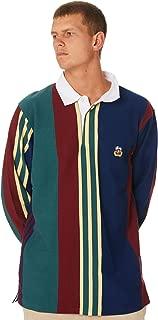 Stussy Men's 86 Vert Stripe Mens Rugby Shirt Cotton Black