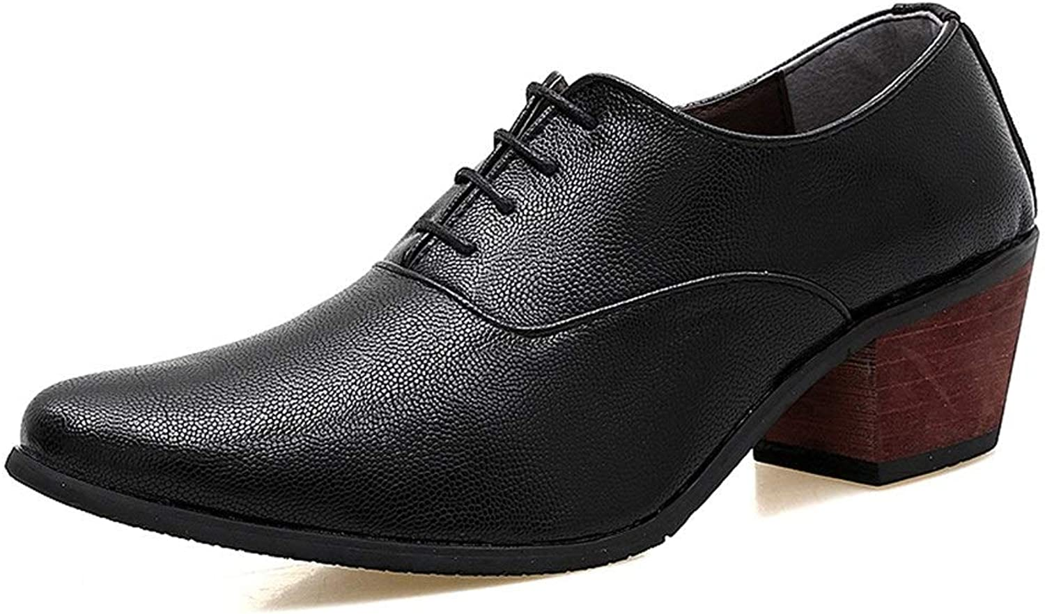 Easy Go Shopping Men's Oxford shoes Lace Up Formal shoes PU Leather Simple Pure color Thick With Higher Cricket shoes (color   Black, Size   8.5 UK)