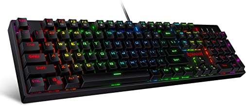 Redragon SURARA K582 RGB LED Backlit Mechanical Gaming Keyboard with 104 Keys-Linear and Quiet-Red Switch