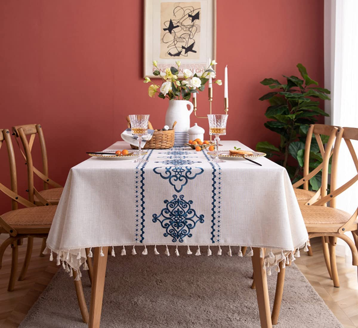 Bringsine Washable Cotton Linen Award Rectangl Solid Design Max 76% OFF Tablecloth
