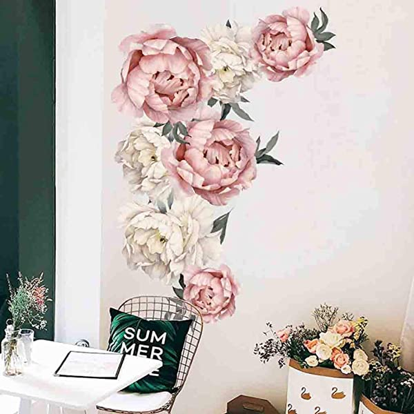 Fine Peony Flowers Wall Decal Pink Rose Wall Stickers Removable Flower Wall Decals Bedroom Living Room Wall Art Decor