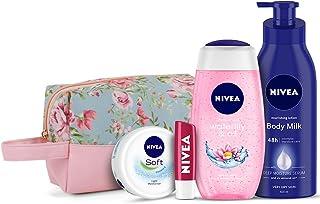 NIVEA Women Combo, Body Milk Nourishing Lotion 400 Ml, Waterlily & Oil Shower Gel 250 Ml, Soft Light Moisturizer 50 Ml, Ch...