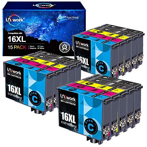 15 Patronen Uniwork 16XL Kompatibel für Epson 16XL 16 Druckerpatronen für Epson Workforce WF-2750 WF-2760 WF-2660 WF-2650 WF-2630 WF-2540 WF-2530 WF-2010 WF-2510 WF-2520