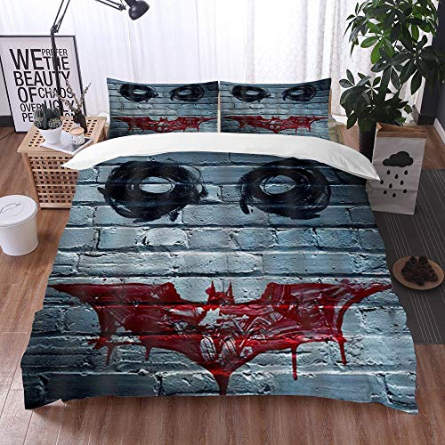Qinniii Duvet Cover Bedding Sets,Decorative Horror Clown Face on The Wall Like The Joker in Batman,3-Piece Comforter Cover Set 135 x 200 cm +2 Pillowcases 50 * 80cm
