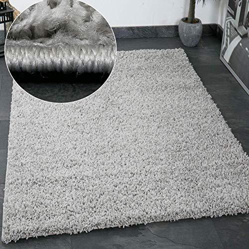 VIMODA Prime Shaggy Teppich Grau Hochflor Langflor Teppiche Modern, Maße:60x100 cm