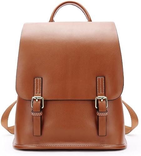 Rucksack Für Frauen Echtes Leder Größe Kapazit Casual Travel School Einkaufstasche,braun