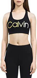 Calvin Klein Performance Ombre Logo Racerback Medium-Impact Sports Bra Yellow XL