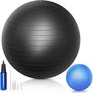 QF Yoga Exercise Ball with 9 inch Mini Exercise Ball, 55cm 65cm 75cm Swiss Ball Pilates Ball Barre Ball with Small Bender ...