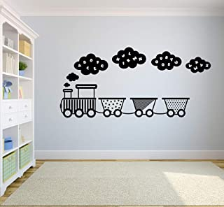 Cute Train Alphabet Stars Clouds Toy Railroad Trains Wall Sticker Art Decal for Girls Boys Room Bedroom Nursery Kindergart...