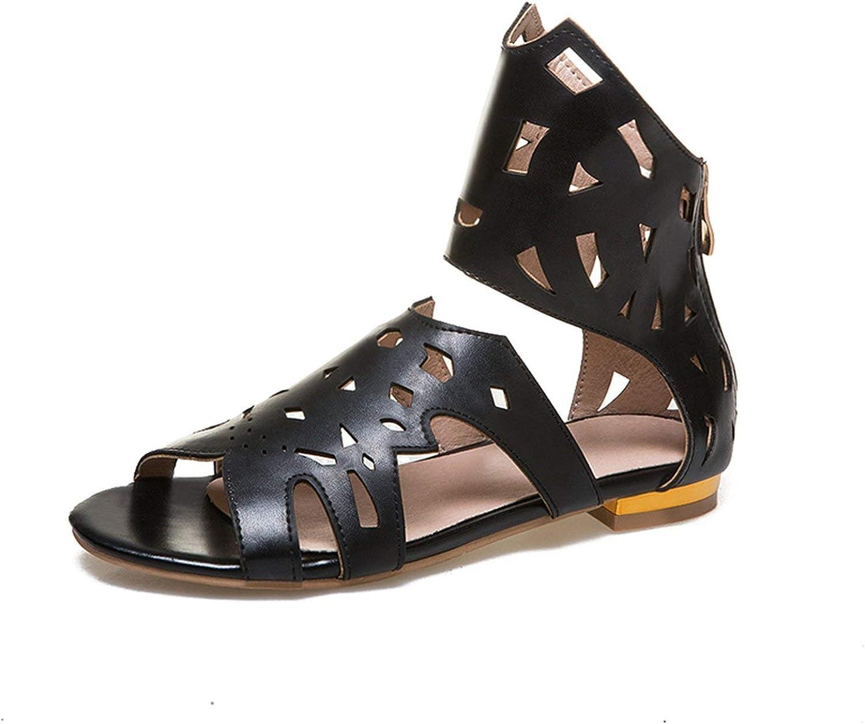 Houfeoans Large Size 33-43 Fashion Hollow Flat Heels Sandals Summer shoes Woman Leisure Gladiator Women shoes