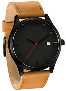 Watches for Men,Men's Classic Quartz Watch,Wugeshangmao Boy's Quartz Analog Sport Wrist Watch Business Casual Watches Gift,Round Dial Case Gold Leather Band Watches