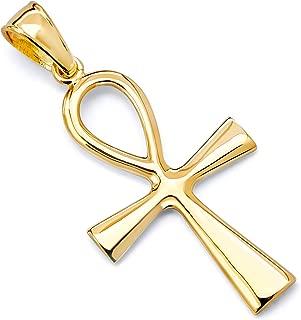 14k Yellow Gold Ankh Religious Cross Pendant