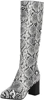 Zanpa Women Fashion Mid Boots Block High Heels Zipper