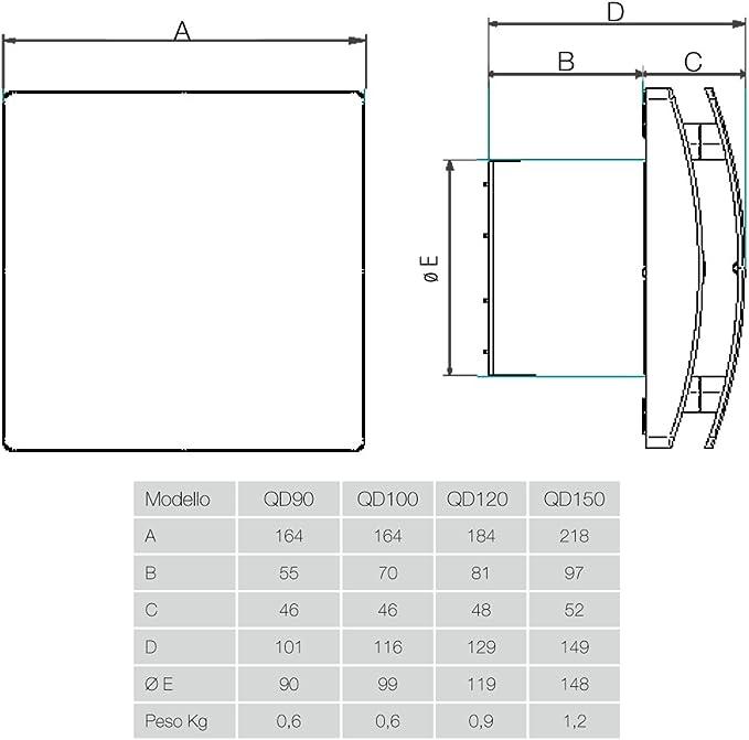 QD90 de Aerauliqa Aspirateur axial diamètre 90 mm 55 m3//h code 00... 8 W