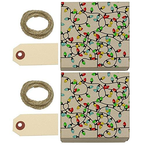 Christmas Lights Kraft Gift Boxes Set of 2