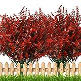 8Pcs Fiori Artificiali di Lavanda Rossa, Piante Resistenti ai Raggi UV Finti, Bouquet di Lavanda Fiori Artificiali per Interni All'Aperto Fai Da Te Matrimonio Home Office Giardino Finestra Decor