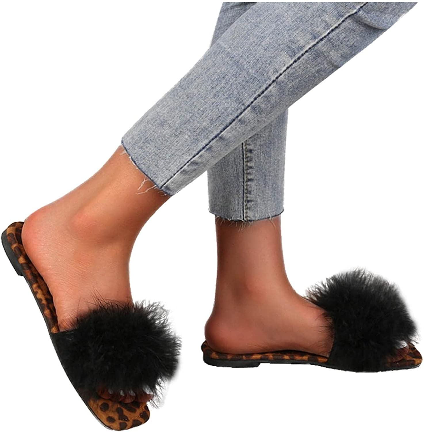 Hunauoo Slippers Bargain for Women Leopard P Flat-Bottom Square Super special price