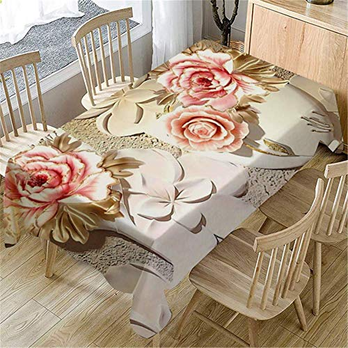 MMHJS Mikrofaser 3D Blume Tischdecke Rechteckigen Couchtisch Decken Küche Esszimmer Hochzeit Geburtstag Party Home Decor B 80X150cm