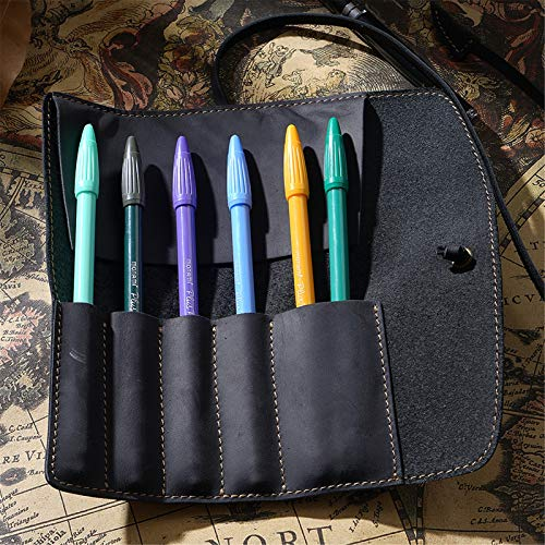 Cosas vintage Papelería de cuero genuino Papel de lápiz hecho a mano Arte Uni College Suplicies Roll Wrap Holder Unisex Soporte de lápices de bolsa de papelería ( Color : Black , Size : 20.2x19cm )