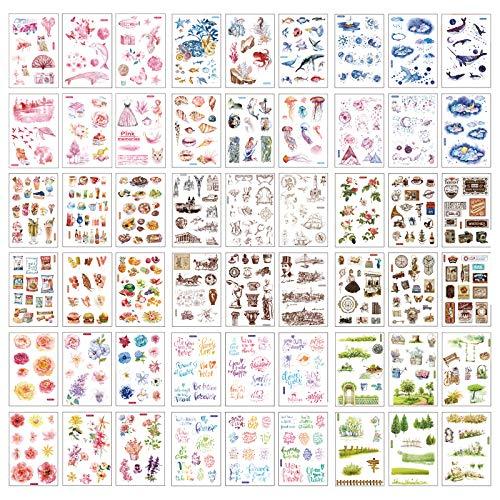NACTECH 54 Blatt Scrapbooking Aufkleber Dekoration Sticker in Verschiedene Muster Aufkleber Sticker für Scrapbook Notizbuch Tagebuch Fotoalbum Kalender DIY Dekoration Bullet Journal
