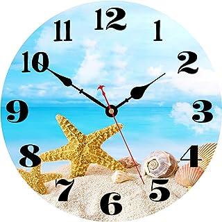 VIKMARI Summer Beach Wall Clock, Starfish Seashell Pattern Blue Ocean, Round Wooden Decorative Clocks, 14 Inch Silent Non ...