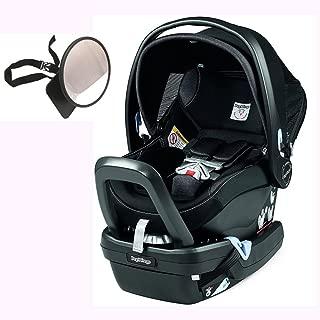 Peg Perego Primo Viaggio Nido Car Seat with Load Leg Base w/ Back Seat Mirror - Onyx