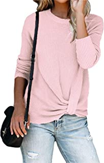 Dellytop Women Long Sleeve Waffle Knit Tops Round Neck Twist Knot Front Fall Thermal Shirts