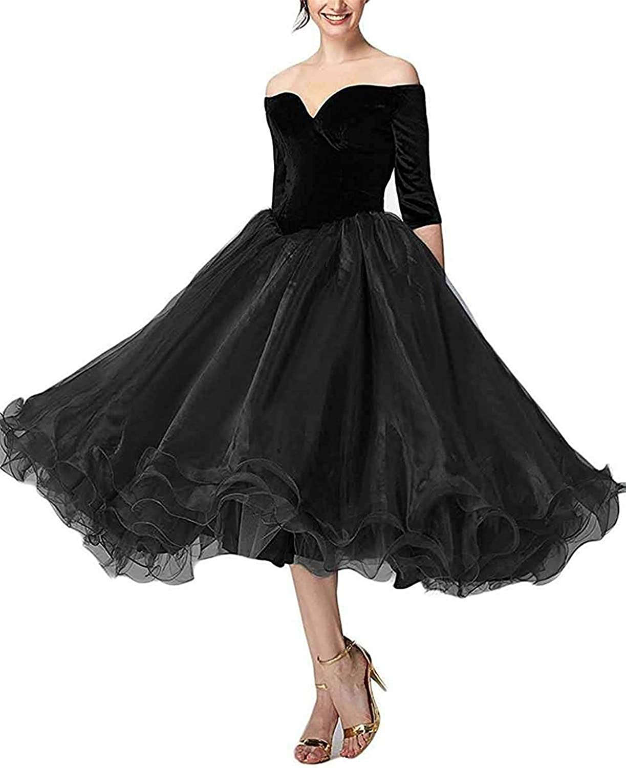 Sulidi Womens Half Sleeves Off Shoulder Prom Dresses 2019 Tea Length Formal Wedding Evening Party Gowns C136