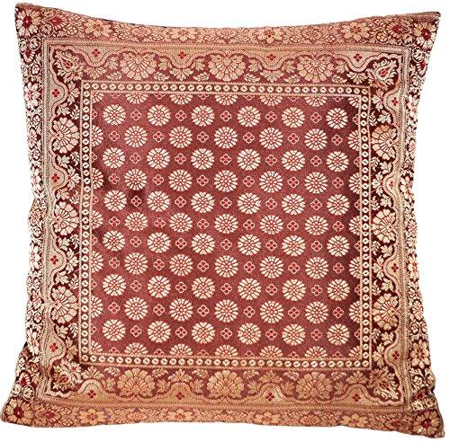 Decoratieve Indiase zijden kussenslopen 40 cm x 40 cm, extravagante decoratieve kussenslopen voor woonkamer en slaapkamer decoratie, kussenhoes uit India. Aanbieding geldig zolang de voorraad strekt