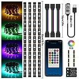 [Controllo APP aggiornato] TV LED posteriore di illuminazion Chesbung LED retroilluminazione TV RGB 5050, illuminazione bias USB 2M con 15 colori e 4 modalità dinamica per HDTV da 40 a 60 pollici
