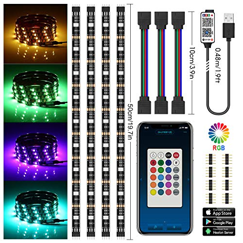 [Controllo APP aggiornato] TV LED posteriore di illuminazion, Chesbung LED retroilluminazione TV RGB 5050, illuminazione bias USB 2M con 15 colori e 4 modalità dinamica per HDTV da 40 a 60 pollici