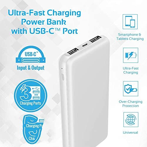 Ovista Reliable RBL 6000 mAh Li Ion Slim Power Bank in Credit Card Shape White with Type C Micro Fast Charging Input
