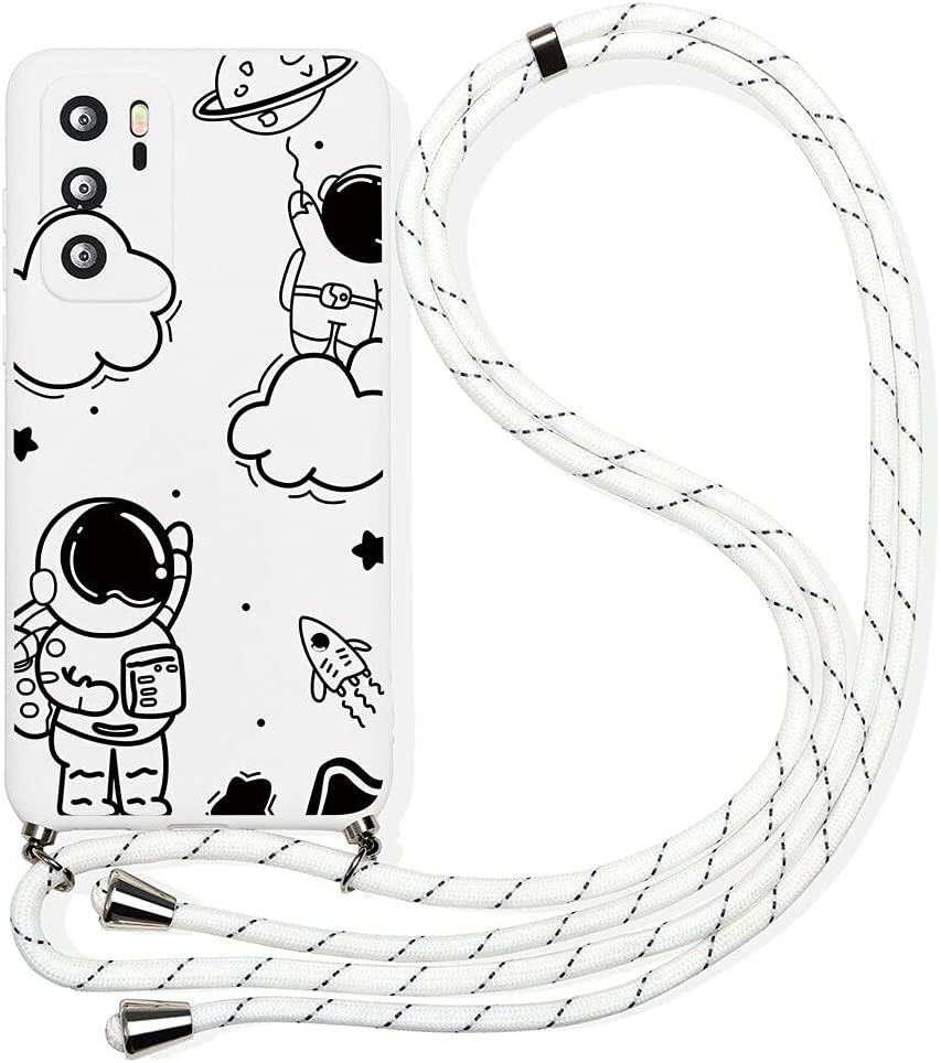 Pnakqil Compatible with Huawei P10 Lite Case 5.2 inch, Crossbody Adjustable Necklace Lanyard with Fashion Pattern Design Soft White TPU Shockproof Protective Case for Huawei P10 Lite 2017, Astronaut