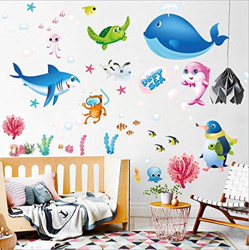 HALLOBO® Wandtattoo Wandaufkleber Tiefsee Fisch Haie Wal Kinderzimmer Fish Fischwelt Seewelt Aquarium Unterwasser Wand Sticker Deko Badzimmer