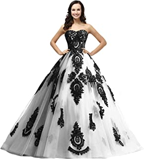 Kivary Long Ball Gown Black Lace Gothic Corset Formal Prom Evening Dresses