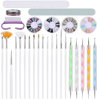 Kit de Arte de Uñas Decoración Acrílicas Gel Incluye Lápiz de Pintura de Gel UV, Pinceles para Delineador de Uñas, Cinta d...