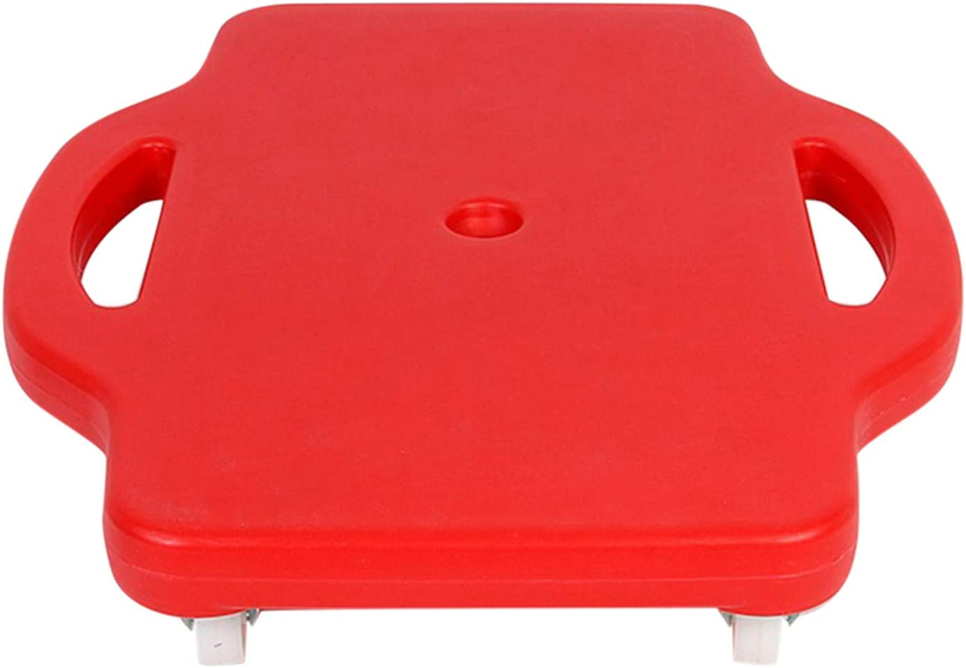 Wapern Patinete de plástico para niños con asas de seguridad y ruedas giratorias, ideal para gimnasio, clase de PE o uso en el hogar, rojo, 42 x 40 cm