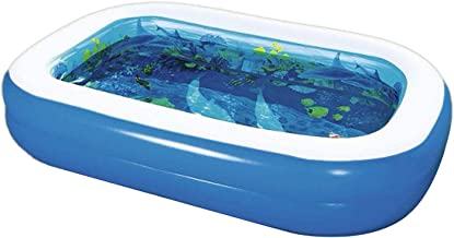 QUYY Piscina hinchable, 103 x 69 x 20 cm, rectangular, piscina familiar, piscina gruesa marina, piscina hinchable con cristales 3D, PVC, piscina hinchable para el verano al aire libre