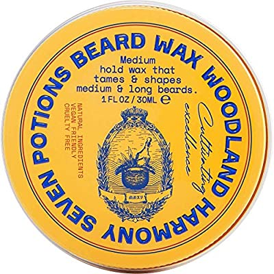 Seven Potions Beard Wax for Men — Medium Hold Styling Wax to Shape And Nourish Your Moustache and Beard — All-Natural, Organic, Vegan, Cruelty Free — Woodland Harmony (30 ml) from Seven Potions