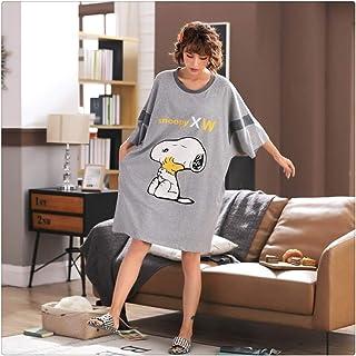 LUOSI Pijama Camisón Mujer 4XL más el tamaño de Las Mujeres Camisón Flojo 100% algodón Fresa Linda Imprimir camisón Ropa de Noche del Verano de Las señoras (Color : Gray Snoopy, Size : XXXL)