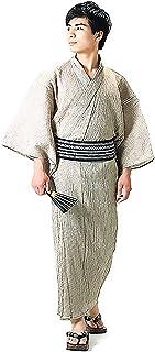 [ 京都きもの町 ] 男性 綿麻浴衣2点セット「白ベージュ破れ細格子浴衣×黒色献上柄角帯」