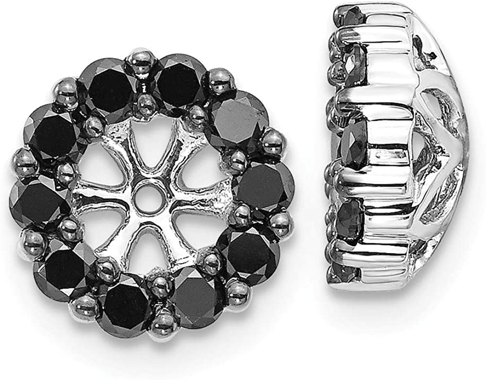 Affluent Rock 14k White Gold Black Diamond Earrings Jackets (0.35