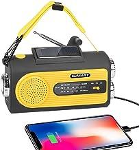SUNGLIFE Solar Crank NOAA رادیوی هوا برای شرایط اضطراری با AM / FM ، چراغ قوه ، لامپ خواندن ، شارژر USB پاور بانک 2000 میلی آمپر ساعت و دزدگیر SOS ، زرد